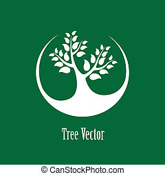 Concept vector graphic- white abstract tree icon(symbol)...