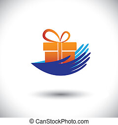 Concept vector graphic- woman's hands with gift icon(symbol). The illustration can represent concepts like getting bonus, presents, employment offers, surprise benefits & also giving to charity, etc