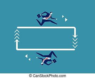 concept, vector., homme affaires, arrow., business, courant