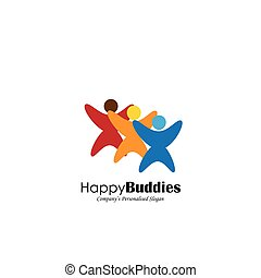 concept vector icon of happy friends together
