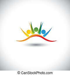 concept vector icon of happy friends together. This vector ...