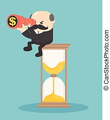 Concept vector illustration, Concept vector business concept, sitting on hourglass looking for future profit.
