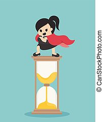 Concept vector illustration, Super Business woman stand on the hourglass, showing confidence to control time.