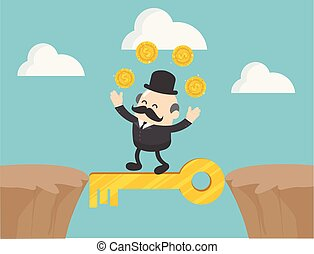 Concept vector illustration, The boss businessman walking between cliffs with magic keys. and money he sought with pleasure.