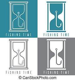 concept vector illustration with fishing hook and sandglass