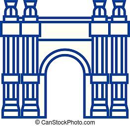 concept., vector, línea, arco triunfal, símbolo, plano, ...