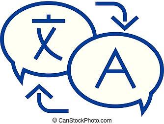 concept., vector, línea, símbolo, plano, traducción, idioma...