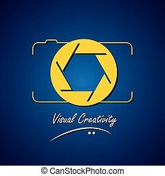 concept, vector, lijn, pictogram, van, fototoestel, -,...