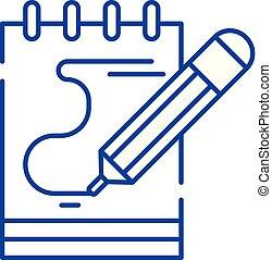 concept., vector, lijn, symbool, plat, pictogram, meldingsbord, opmerkingen, schets, dagboek, illustration.