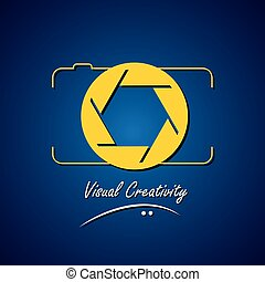 concept vector line icon of camera - photographer's visual...