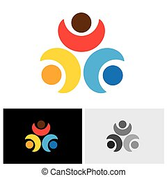 Concept vector logo icon of friendship - three friends...