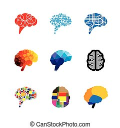 concept vector logo icons of brain and mind. this graphic...