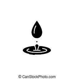 concept., vector, negro, hidroterapia, símbolo, plano, icono, señal, illustration.