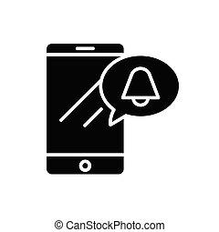 concept., vector, negro, símbolo, plano, icono, señal, móvil...