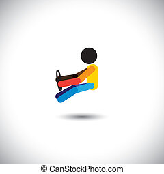 Concept vector of a car driver driving with steering wheels in hand. This colorful & abstract graphic can also represent traveler on his journey, chauffeur driving a sedan, person on a relaxed ride