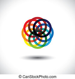 Concept vector of colorful circles in various bright vibrant...