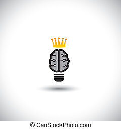 concept vector of ideas - brain as light bulb icon with crown.