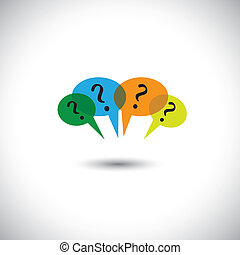 concept vector people chat - many speech bubbles & questions.