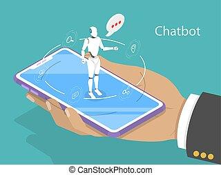 concept., vector, plano, chatbot, apoyo, isométrico, cliente