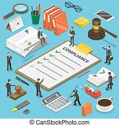 concept., vector, plano, regulatory, isométrico, conformidad
