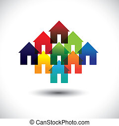 Concept vector real estate business icons of colorful houses. The graphic contains home icons or signs in red, orange, yellow, blue, pink and other vivid and vibrant colors