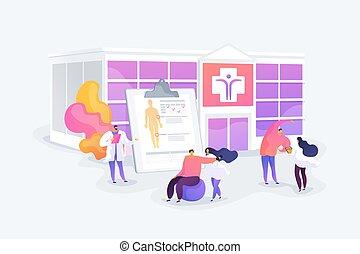 concept, vector, rehabilitatie, illustratie, centrum