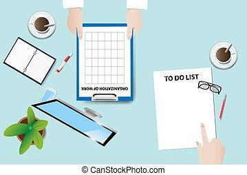 concept, vector, vergadering, werkende