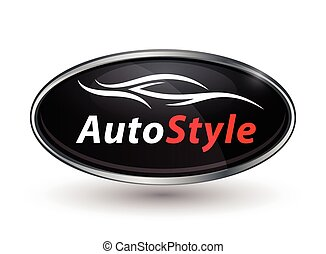 Concept vehicle logo of chrome badge with sports car...