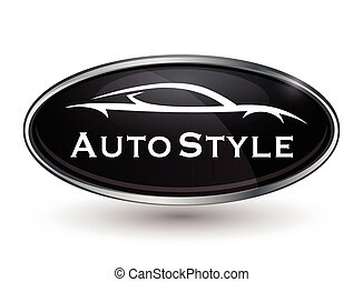 Concept vehicle logo of chrome badge with sports car silhouette