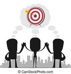 concept., vektor, teamwork