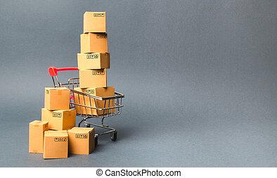concept, vente, commerce, marchandises, products., charrette, supermarché, boxes., order., ventes, shopping., livraison, par, achat, e-commerce, puissance, ligne commerçant, achats, platforms.