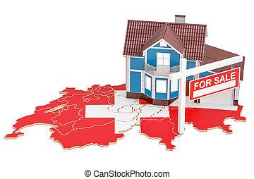 concept, vente, rendre, loyer, suisse, propriété, 3d