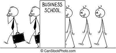 concept, veranderen, mannen, saai, zakenlieden, opleiding, lijn, spotprent