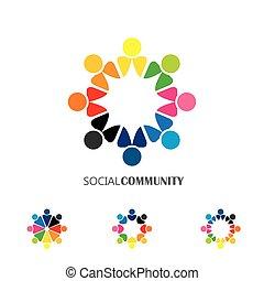 concept, verplichting, mensen, iconen, -, verzameling, vector, cirkel, togetherness