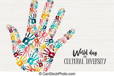concept, verscheidenheid, hand, cultureel, anders, dag, kaart