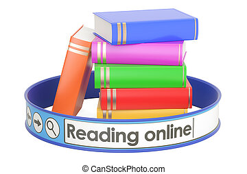 concept, vertolking, lezende , online, 3d