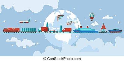 concept, vervoeren, voertuigen