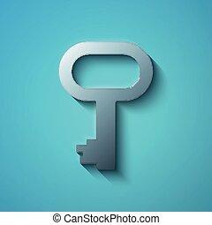 concept:, vetorial, ícone chave, apartamento, metálico, segurança