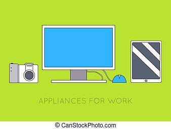 concept., vetorial, computador, fundo, local trabalho, desenho, ilustração, apartamento