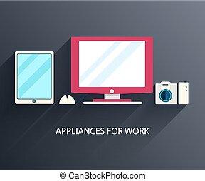 concept., vetorial, fundo, computador, apartamento, local trabalho, ilustração, design.