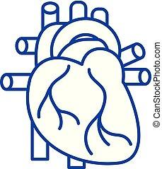 concept., vetorial, linha, coração, símbolo, apartamento, ...