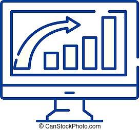 concept., vetorial, linha, crescimento, símbolo, apartamento, ícone, sinal, esboço, negócio, illustration.