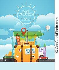 concept., vettore, bag., viaggiante, viaggiare, vacanza, illustrazione, prendere
