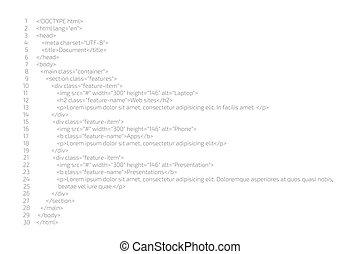 concept., vettore, codificazione, codice, programmazione, website., html, illustration.