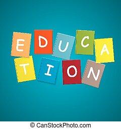 concept., vettore, educazione, libro, illustrazione