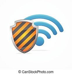 concept., vettore, sicurezza, wifi