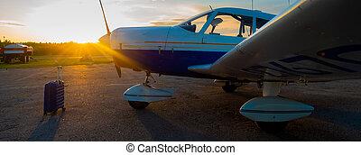 concept., viaje, maleta, sí mismo, estacionado, propulsor, ...