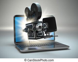 concept., vidéo, laptop., appareil photo, retro