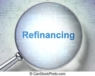 concept:, vidro, óptico, refinancing, negócio