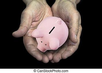 concept, vieux, banque, porcin, mains, pension
